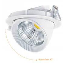 LED Spotlight embutida Rotatable 30W 2100lm COB PF > 0.9 AC100 ~ 240V