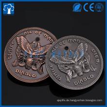 kundenspezifische glänzende / antike Metall diablo Trolly 3D Tag Münze