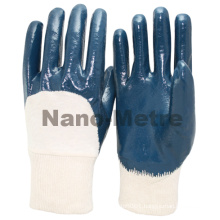 NMSAFETY cotton liner half coated cheap knit cuff blue nitrile glove/working glove