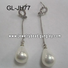 silver color women shell pearl earrings