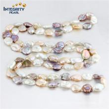 Keshi Perlen-Halskette 11-13mm multi Farben-Art- und Weiselange Perlen-Halskette