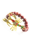 Pulsera de Piedras Preciosas Red Jasper 8MM Stretch con Diamante alloy scorpion Piece