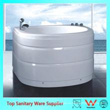 Bañera de bañera monobloque ovalada de una pieza para espacios pequeños