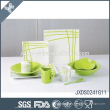 Новейшая линия деколь дизайн свежий зеленый фарфор нерушимой набор посуды