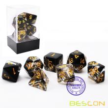 Bescon Crystal Black 7-pc Poly Dice Set, Bescon Polyhedral RPG Dice Set Crystal Black