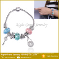 Ladies Lock Key Metal Bracelet Big Hole Beads Snake Bracelet