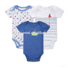Venta al por mayor de cuello redondo de punto desgaste del bebé barato 100% algodón llanura azul mameluco mameluco del bebé instock