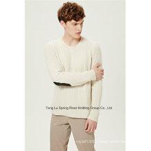 Leather Lamb Wool Nylon Round Neck Men Knit Sweater