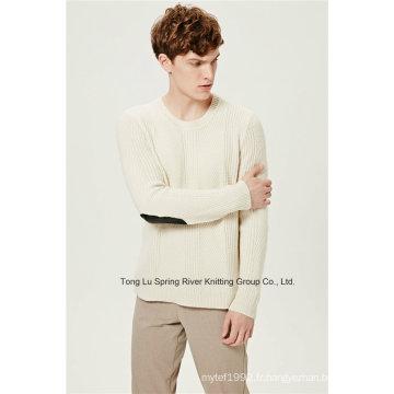 Pull en tricot en laine à laine en laine d'agneau en laine Cuir