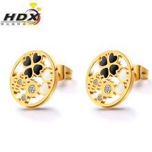 Accessoires en acier inoxydable Boucles d'oreilles à cadeaux Bijoux à la mode Boucles d'oreilles en or (hdx1133)