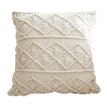 blue macrame outdoor pillow