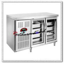 R255 2 portes en verre luxueuses réfrigérateur à sous-comptoir Fancooling plateau