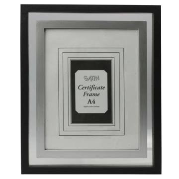 Noir avec cadre certificat A4 intérieur argent