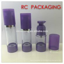 Botella airless xosmetic plástica de 20ml / 25ml / 30ml / 40ml / 50ml, botella airless redonda del plástico, botella airless cosmética