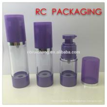 20ml / 25ml / 30ml / 40ml / 50ml bouteille en plastique sans air, bouteille ronde en plastique sans air, bouteille cosmétique sans air