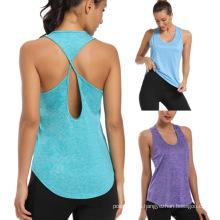 Camisetas de entrenamiento con espalda abierta para mujer