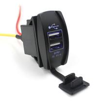 Novo 12-24V impermeável carro Dual USB adaptador de energia carregador de energia com LED azul