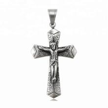 34424 xuping Simple design mode en acier inoxydable bijoux noir pistolet couleur croix pendentif