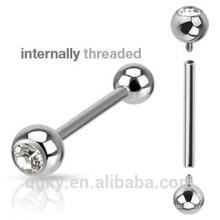 Cor de prata interna-threaded língua piercing único Stone bola