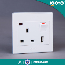 Igoto UK Standard 1gang 13A USB Switched Socket mit Neon Use für Home