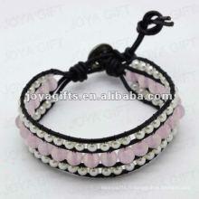 Amitié Rose Quartz 8MM Perles rondes Wrap Bracelets