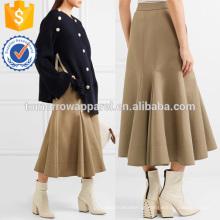 Algodão desfiado e mistura de seda saia sarja manufatura atacado moda feminina vestuário (ta3021s)