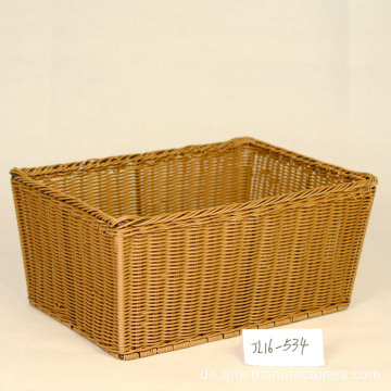 Rectangular Plastic Rattan Storage Basket