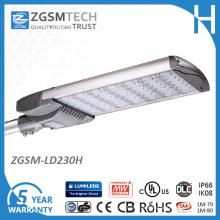 230W UL listete LED-Straßenlaterne mit den mehrfachen Klammern auf, die optional sind