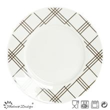 Porcelana blanca de 10.5 pulgadas con plato de cena con etiqueta