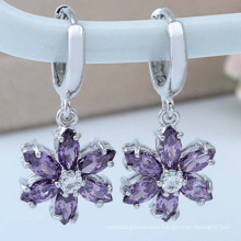 Elegant Classic Quality Zircon Plum Zircon Gold Silver Earrings