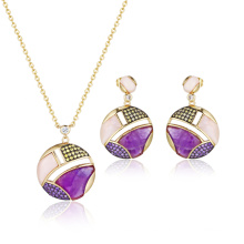 Conjunto de joyas de piedras semipreciosas de amatista rosa
