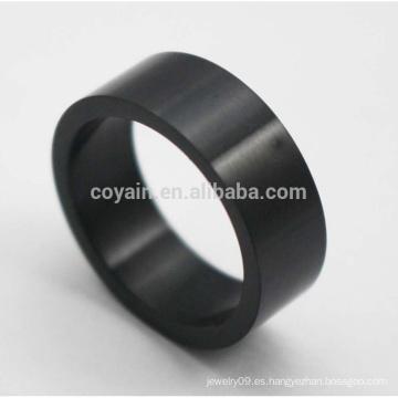 Baratos redonda en forma de anillos de acero inoxidable clásico negro para los hombres