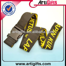 Cheap custom luggage belt with plastic buckle