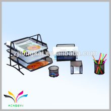 Fashionable metal desk mesh waterproof henings desktop document holder organizer