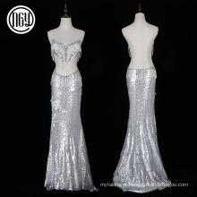 Nova noite elegante prata longa sereia sexy vestido com miçangas