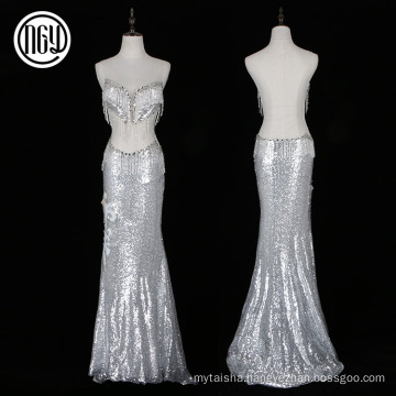 New fashionable evening silver long mermaid sexy dress with beads