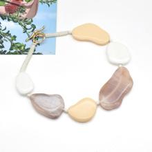 2021 trendy white beige coffee color choker jewelry acrylic irregular stone necklace