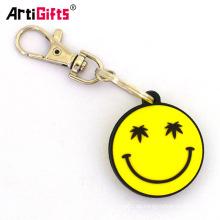Kundenspezifisches personalisiertes PVC-Lächelnsmiley Reifen emoji Frühlings keychain