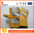 Reinforced Leather Palm, Cotton Back Gloves Rubberized Cuff -Dlc330