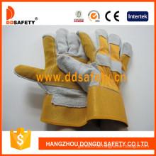 Verstärkte Leder-Palme, Baumwoll-Rückenhandschuhe Gummierte Manschette -Dlc330