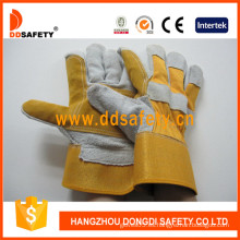 Palma de cuero reforzada, guantes de respaldo de algodón Puño de goma -Dlc330