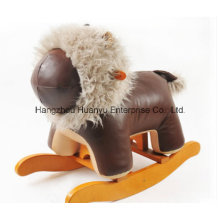Wooden Stuffed Rocking Animal-Brown Leather Lion Rocker