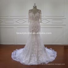 цветочные мотивы кружева половина рукава русалка свадебное платье