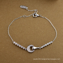 Hot item promotional jewelry simple and nice the half moon crystal bracelet