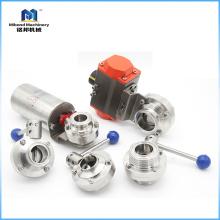 Válvula de mariposa de control neumático de acero inoxidable 304 / 316L 1-10 pulgadas