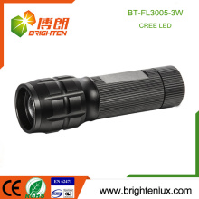 Factory Custom Made Emergency Bright Aluminum Material Cree XPE 3W led Long Focus Torch with 3*AAA battery