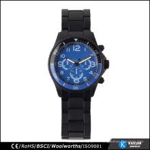 Azul reloj de cuarzo impermeable reloj bisel japón movimiento hombre reloj deportivo