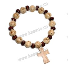Pulseira de madeira religiosa