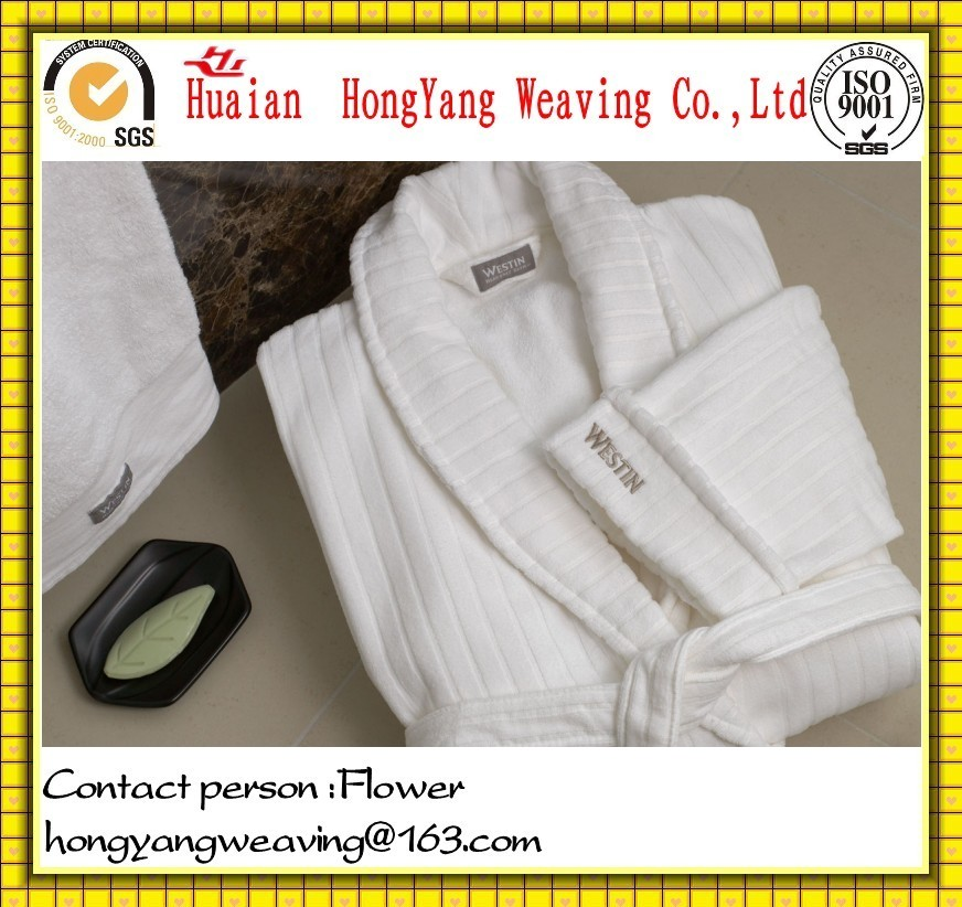 Unisex 100% Cotton Velour Jacquard  Bathrobe for Hotel and Home Use