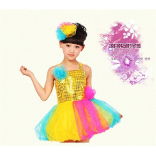 Stunning Sequin lycra leotard children stage dance dress /tutu dress costume for child